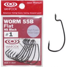 Vanfook Worm 55B Flat NS Black  #2/0